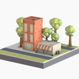 3D Illustration - Little Buildings